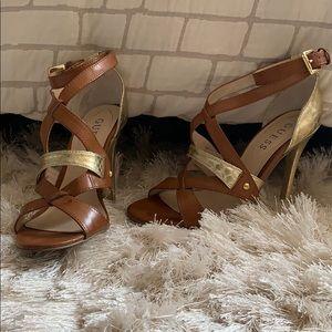GUESS Size 6 Women's Gold & Tan High Heels